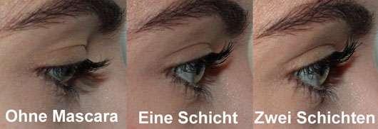 Max Facor False Lash Epic Mascara, Farbe: Black - Collage Auge von der Seite mit und ohne Mascara