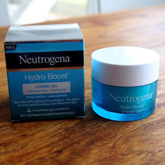 Neutrogena Hydro Boost Creme Gel (Trockene Haut) Tiegel und Verpackung
