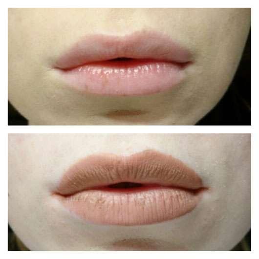 NYX Lip Lingerie Liquid Lipstick, Farbe: 06 Push-up - Collage Lippen mit und ohne Produkt