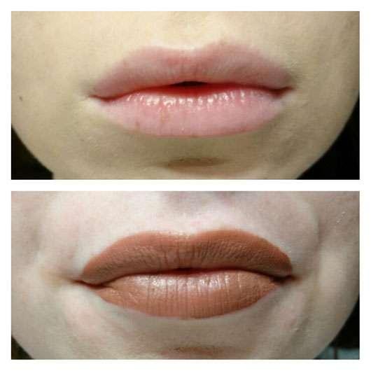 NXY Liquid Suede Cream Lipstick, Farbe: 04 Soft-Spoken vorher und nachher