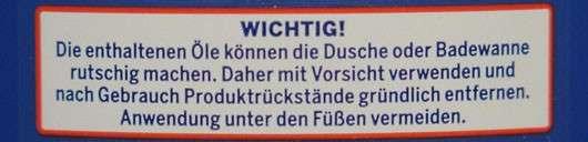 Warnhinweis - In-Dusch Bodylotion
