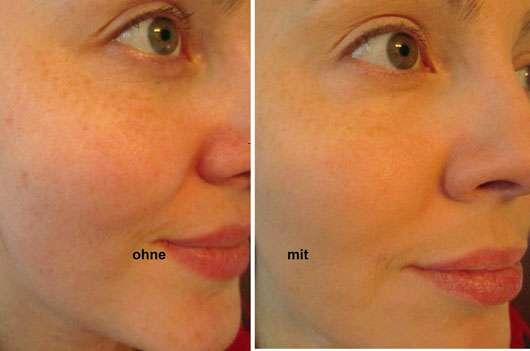 Catrice HD Liquid Coverage Foundation, Farbe: 020 Rose Beige - Gesicht ohne und mit Produkt