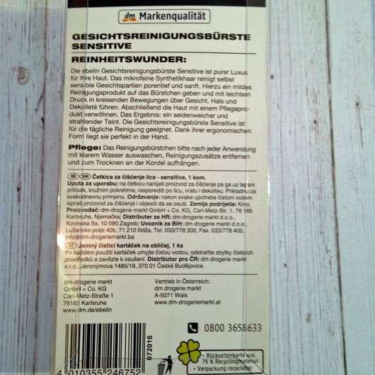 ebelin Gesichtsreinigungsbürste Sensitive - Rückseite Verpackung