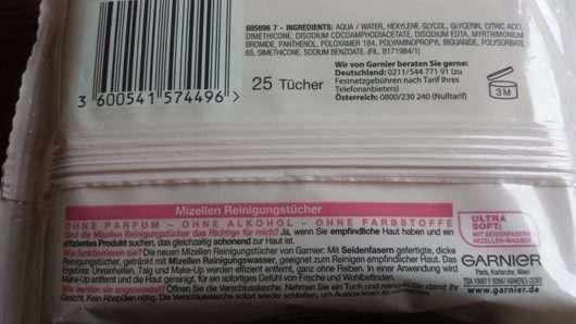 Verpackungsrückseite der Garnier Skin Naturals Mizellen Reinigungstücher (empfindliche Haut)