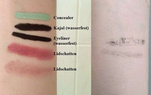 vorher/nachher Abschminkergebnis mit dem Garnier SkinAktive Mizellen Waschgel All-in-1 auf dem Unterarm simuliert