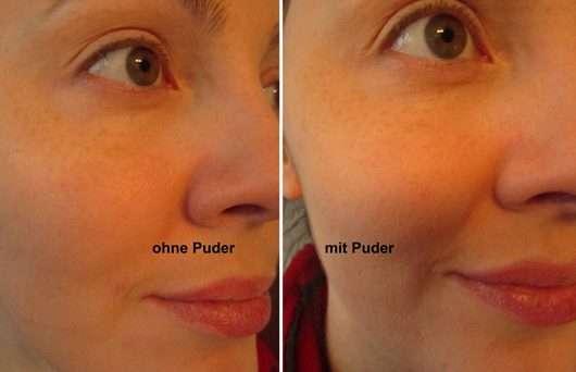 ohne/mit IsaDora Matt Fixing Blotting Powder, Farbe: 03 Sheer Nude