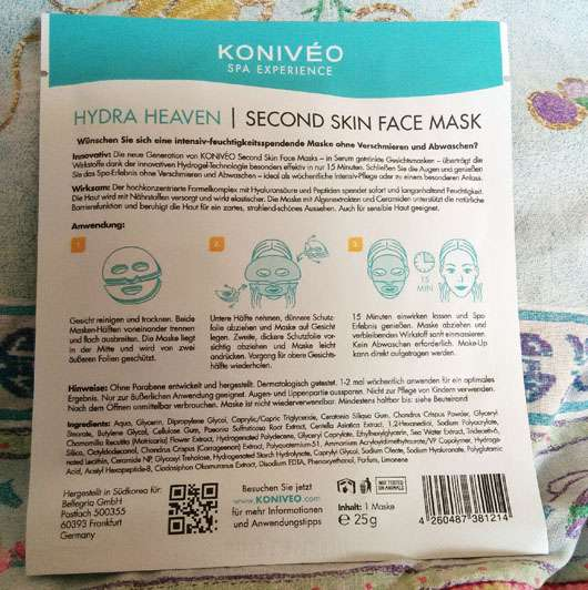KONIVÉO Second Skin Face Mask HYDRA HEAVEN Herstellerangaben