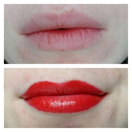 Urban Decay VICE Lipstick, Farbe: F-Bomb (Cream Finish) Lippen vorher und nachher