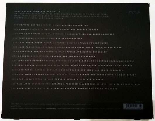 ZOEVA Rose Golden Complete Set Vol. 1 - Rückseite