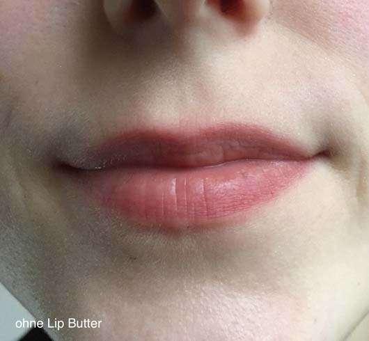 Lippen vor der Verwendung der Labello Lip Butter Blueberry Blush