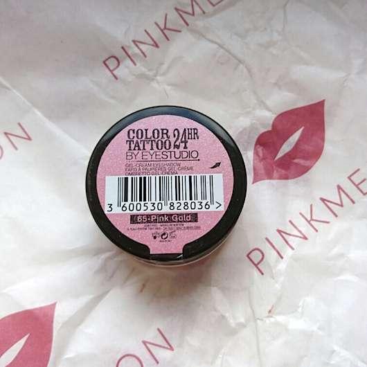 Etikett vom Maybelline Eyestudio Color Tattoo 24HR Gel-Cream Eyeshadow, Farbe: 65 Pink Gold