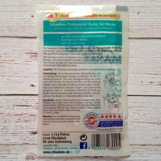 Inhaltsstoffe der Schaebens Professional Hydro Gel Maske