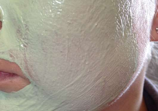 Garnier SkinActive Matcha + Kaolin Mask auf dem Gesicht