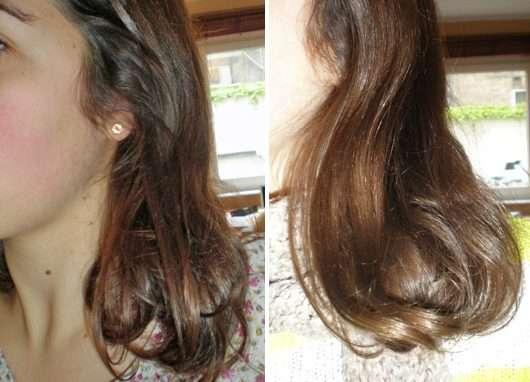 Haare ohne/mit HASK Argan Oil Repairing Conditioner