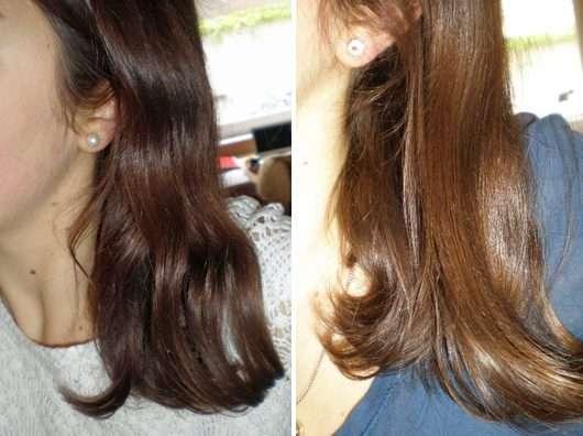 Haare ohne/mit HASK Argan Oil Repairing Deep Conditioner