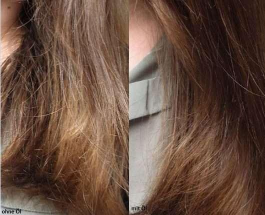 Haare ohne/mit HASK Argan Oil Repairing Shine Hair Oil