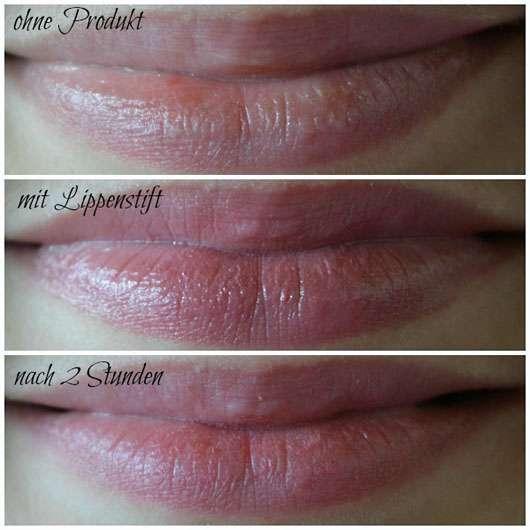 just cosmetics sheer finish lipstick, Farbe: 020 interlude - Collage der Lippen ohne und mit Produkt