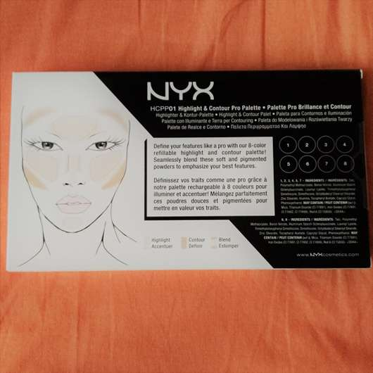 Rückseite der NYX Highlight & Contour Pro Palette