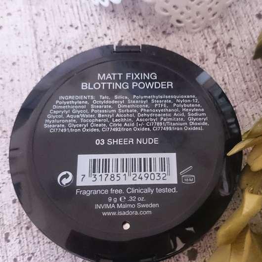 Inhaltsstoffe vom IsaDora Matt Fixing Blotting Powder, Farbe: 03 Sheer Nude