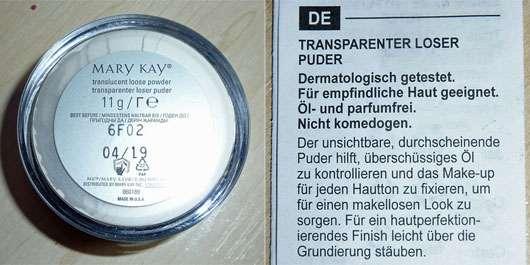 Mary Kay Translucent Loose Powder - Rückseite und Beschreibung