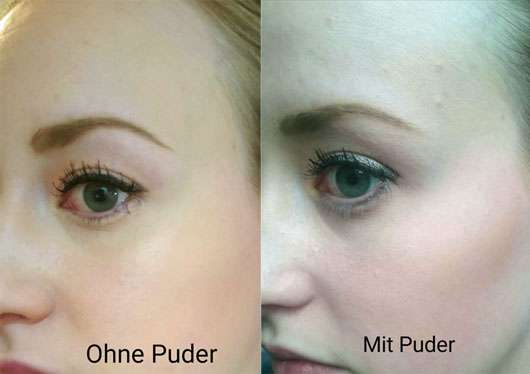 Mary Kay Translucent Loose Powder - Collage Gesicht mit und ohne Produkt