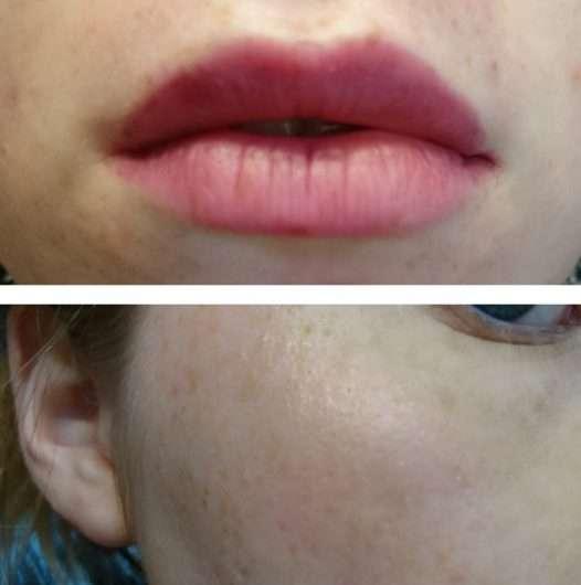 Lippen/Wangen mit Produkten aus der - essence live. laugh. celebrate! eye/lip/cheek palette (LE)