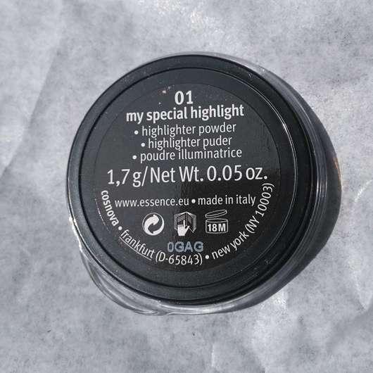 Inhalt vom essence live. laugh. celebrate! highlighter powder, Farbe: 01 my special highlight (LE)