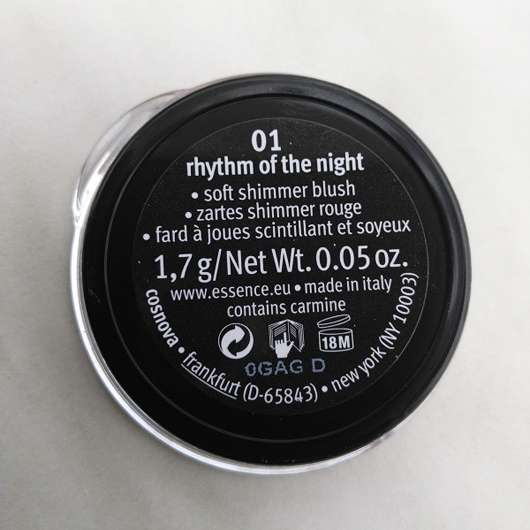 Verpackungsbeschreibung vomessence live. laugh. celebrate! shimmer blush, Farbe: 01 rhythm of the night (LE)