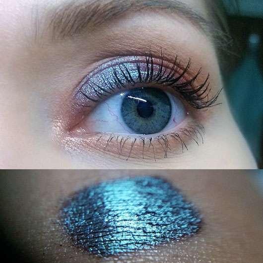 M·A·C Pigment Reisegröße, Farbe: Blue Brown - Swatch und auf dem Auge aufgetragen