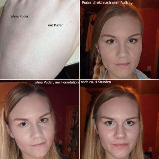 Mary Kay Translucent Loose Powder - Collage Gesicht mit und ohne Produkt