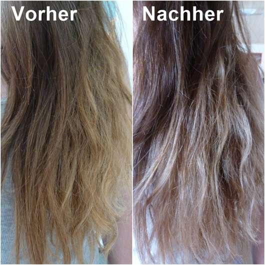 alverde Repair Haarspitzenfluid Bio-Avocado Bio-Sheabutter Flasche vorher und nachher