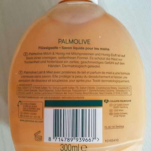 Palmolive Naturals Milch & Honig Flüssigseife - Flasche Rückseite