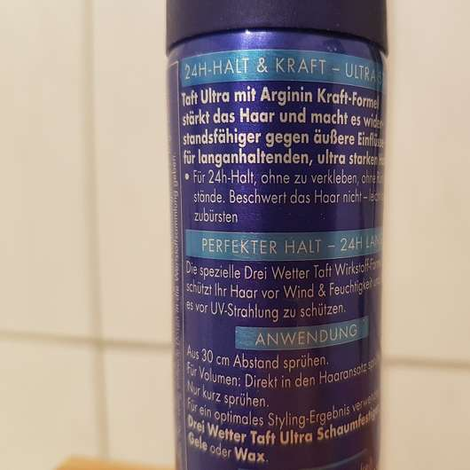 Schwarzkopf 3 Wetter taft Volumen Haarlack Ultra Stark Herstellerangaben