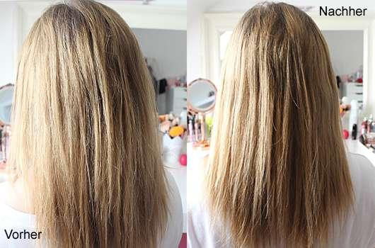 Haare vor und nach der Verwendung vom Splisstrimmer