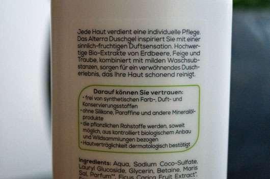 Alterra Duschgel Bio-Erdbeere & Bio-Feige - Flasche Rückseite