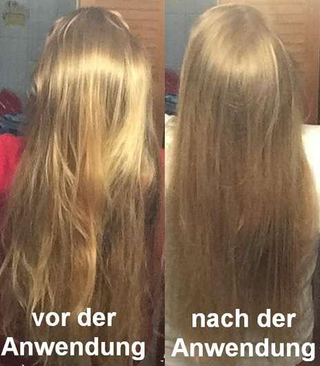 Haare vor und nach der Verwendung der alverde 2in1 Express Haarkur Bio-Zitrone und Bio-Papaya