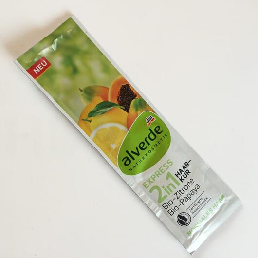 Verpackung der alverde 2in1 Express Haarkur Bio-Zitrone und Bio-Papaya