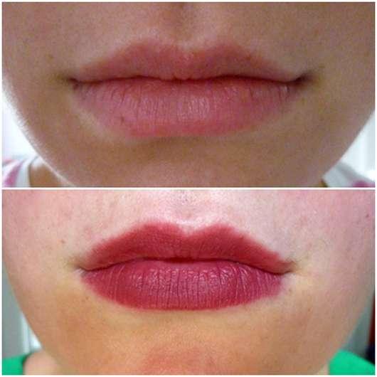 L.O.V LIPaffair color & care lipstick, Farbe: 540 Isabelle's Plum Lippen vorher und nachher