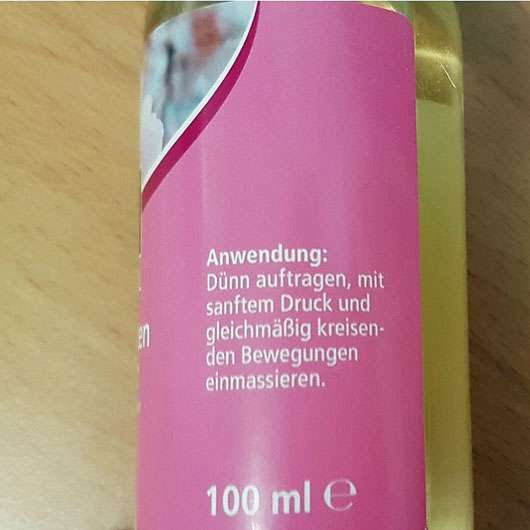 Kneipp Pflegendes Massage-Öl Mandelblüten Hautzart - Flasche Aufdruck zur Anwendung