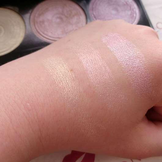 "Makeup Revolution Highlighting Powder Palette ""Highlight"" - Farben auf dem Handrücken"