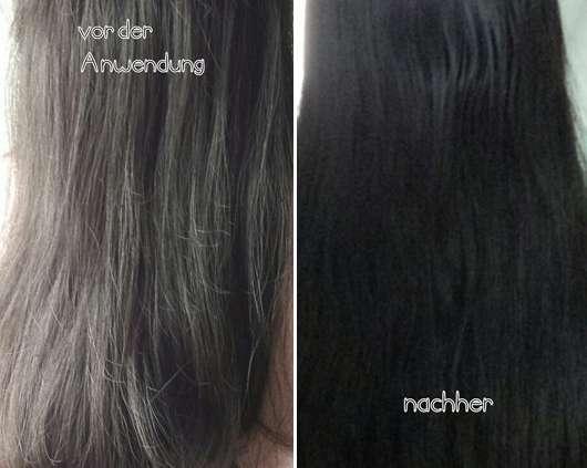 Haare vor/nach Verwendung der Swatch - alverde 2in1 Express Haarkur Bio-Zitrone und Bio-Papaya