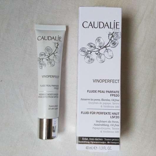Caudalie Fluid für perfekte Haut LSF 20 Tube und Verpackung