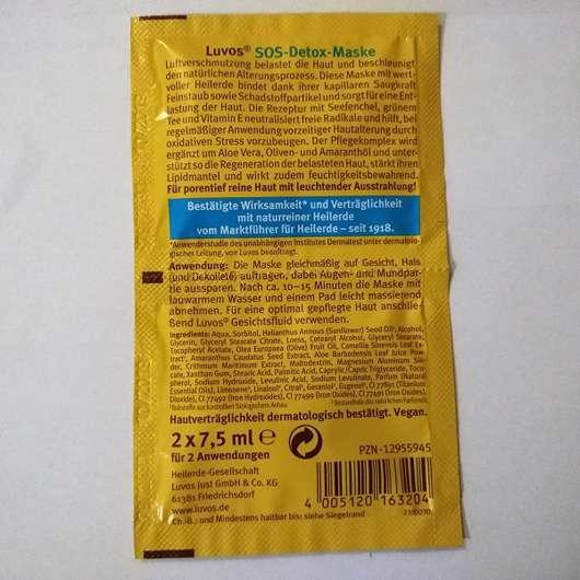 Luvos Heilerde SOS-Detox Maske Herstellerangaben