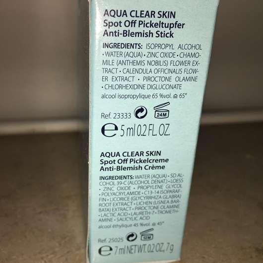 Nahaufnahme der Verpackung des SANS SOUCIS Aqua Clear Skin SOS Pickel Sets (LE)