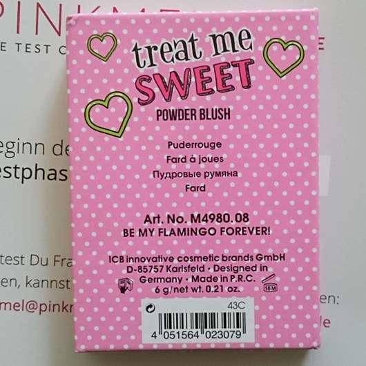 herstellerangaben vom Misslyn Treat Me Sweet Powder Blush, Farbe: 08 Be My Flamingo Forever
