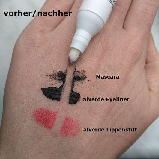 alverde Make-up-Korrekturstift - Reinigungswirkung verschiedener Produkte