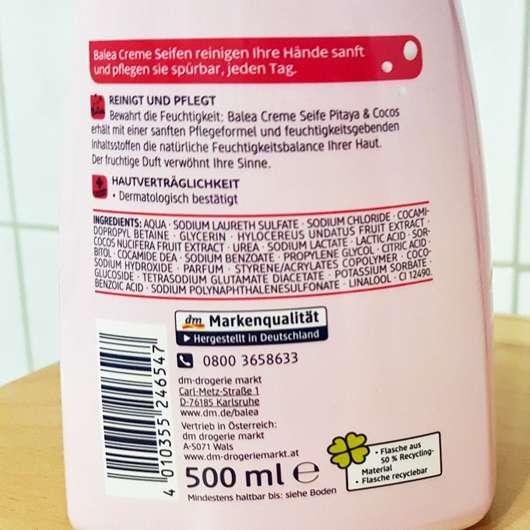 Balea Creme Seife Pitaya & Cocos Herstellerangaben
