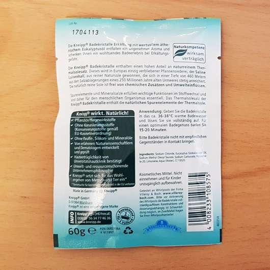 Kneipp Badekosmetikum Erkältung Eukalyptus Herstellerangaben