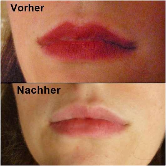 Lippen vor/nach Anwendung der Nivea Mizellen Reinigungstücher (LE)