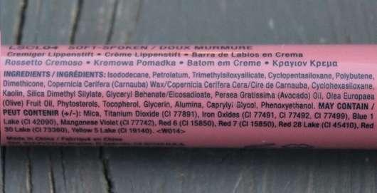 Verpackung von der Seite - NYX Liquid Suede Cream Lipstick, Farbe: 04 Soft Spoken